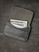 """""""Grant"""" Grey/Green Leather Flap Wallet"""