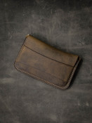"""Grant"" Rustic Brown Oil Tan Leather Flap Wallet"