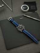 Bas and Lokes Blue Leather Watch Strap