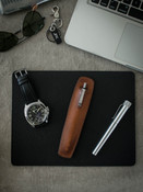 """Holmes"" Vintage Bourbon Leather Pen Sleeve"