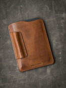 Vintage bourbon leather notebook sleeve