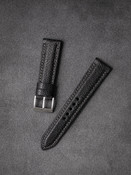 Bas and Lokes black handcrafted leather ostrich leg strap
