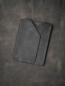 """""""Rex"""" Grey vintage style handcrafted slim leather wallet"""