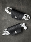 Black Leather Cord  and Cable Wrap