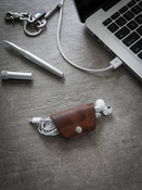 Cognac Leather Cord  and Cable Wrap