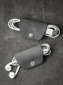 Grey Green Leather Cord and Cable Wrap