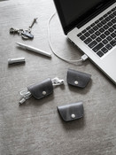 Ghost Grey Leather Cord  and Cable Wrap