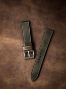 Vintage olive green handcrafted leather watch strap