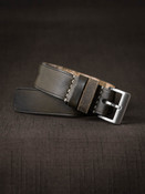 """""""Trent"""" Olive Green Leather NATO Watch Strap"""