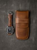 """Reiss"" Vintage Bourbon Leather Watch Pouch"