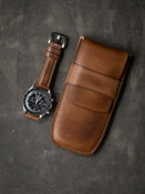 Bas and Lokes Vintage Bourbon Leather Watch Pouch StorageBas and Lokes Vintage Bourbon Leather Watch Pouch Storage
