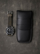 Bas and Lokes Black Textured Handcrafted Leather Watch Pouch