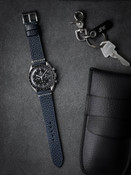 Handcrafted Blue Leather Watch Strap