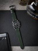Bas and Lokes Dark Green Handcrafted Leather Watch Strap