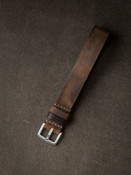 Rugged vintage brown leather watch strap