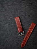 """Hughes"" red leather watch strap"