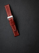 """Hughes"" Red Hot Textured Leather Watch Strap"