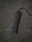 Monogrammed Leather Bookmark - Pebbled Black
