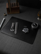 """Burton"" Brushed Dark Green Suede and Black Leather Valet Mat"