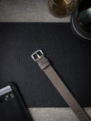 """Gatsby"" Grey Beige Pebbled Leather NATO Watch Strap"