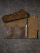 """""""Digby"""" Textured Mud Brown Leather Watch Roll - (TWO LEFT)"""