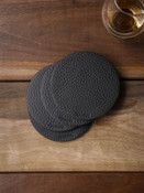 Black textured handcrafted leather coasters