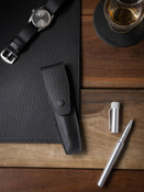 Black Leather Pen Case
