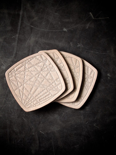 """""""Bubbly"""" Natural Vegetable Tanned Leather Coaster - TWO SETS LEFT"""