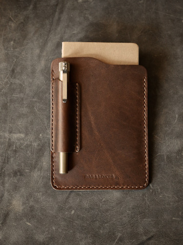 Walnut brown handmade leather notebook sleeve