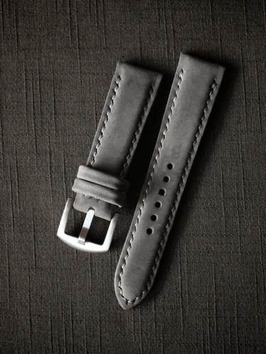 """Stockholm"" Medium Grey Nubuck Padded Watch Strap"