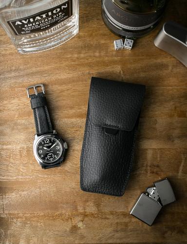 """Kingsman"" Pebbled Black Padded Leather Watch Strap"