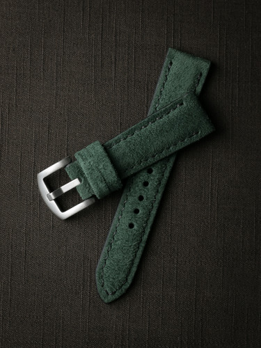 Bas and Lokes green handcrafted suede watch strap