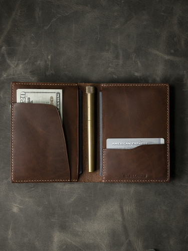 """Magellan"" Walnut Brown Leather Double Passport Wallet"