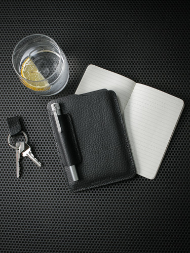 """Dante"" Pebbled Matte Black Leather Notebook Sleeve"