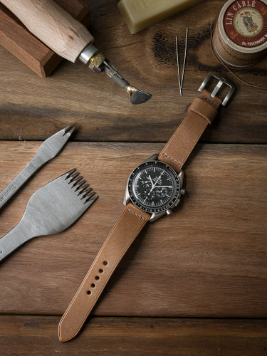 Bas and Lokes natural handcrafted leather watch strap