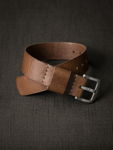 Bas and Lokes whiskey leather watch strap