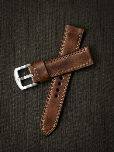 """Lockheed"" handcrafted leather watch strap"