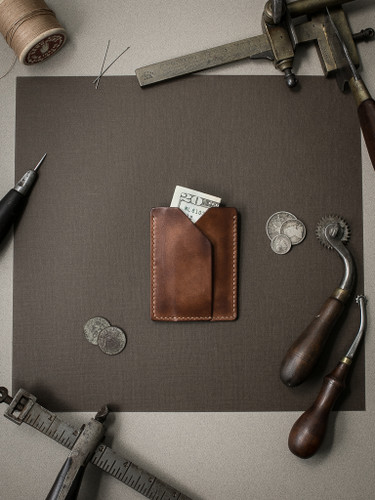 Rex russet vintage tan leather slim wallet