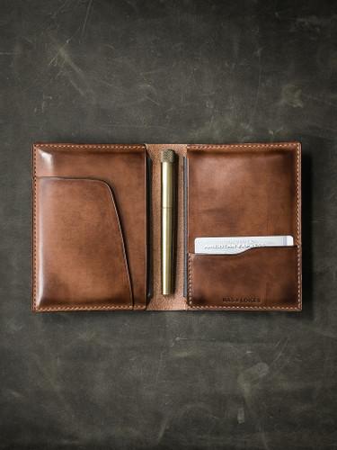 Magellan Russet vintage tan handcrafted leather double passport wallet