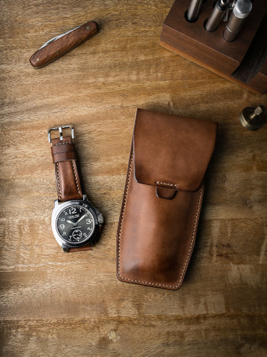 Bas and Lokes vintage russet handcrafted leather watch pouch