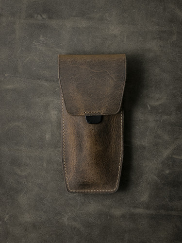 Bas and Lokes brown handcrafted leather watch pouch