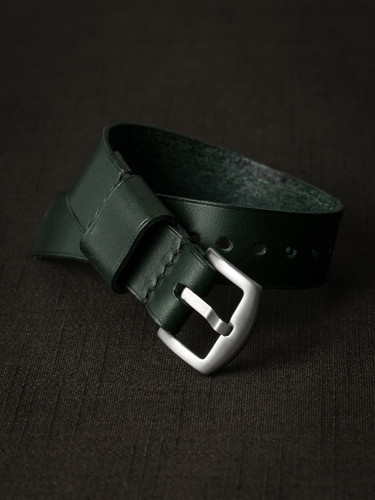 """Knight"" Racing Green Leather NATO Watch Strap ""Knight"" Racing Green Leather NATO Watch Strap"