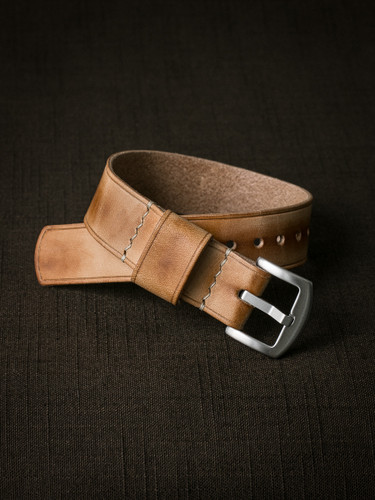 """Quentin"" Natural Vintage Leather NATO Watch Strap"