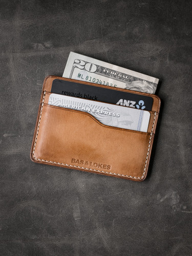 """Ford v2"" Vintage Natural Slim Leather Wallet"