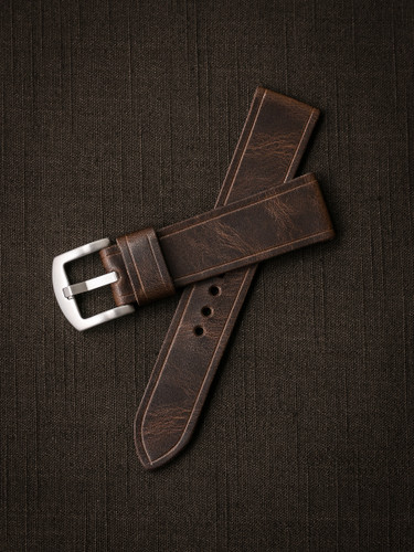 Bas and Lokes brown vintage handcrafted leather watch strap