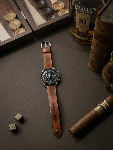 Bas and Lokes bourbon handcrafted leather watch strap
