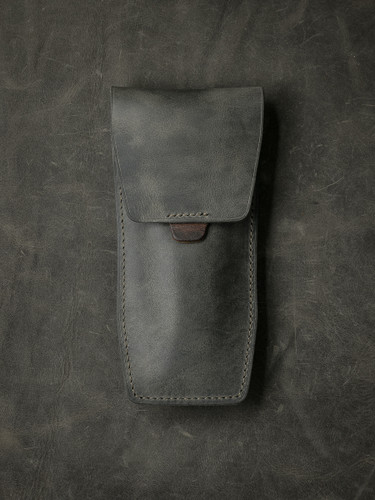 Bas and Lokes grey green handcrafted leather watch pouch