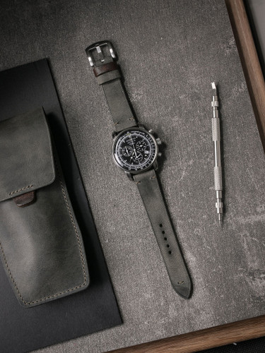 """Worthington"" Vintage Grey Green Leather Watch Strap"