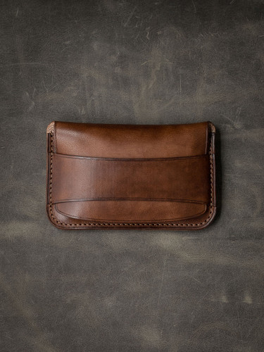 """Grant"" Vintage Russet Leather Flap Wallet"