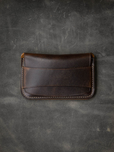 """Grant"" Classic Brown Handcrafted Leather Flap Wallet"